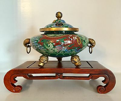 Fine Republic Chinese Dragon Cloisonne Incense Burner Censer ~Superb Stand