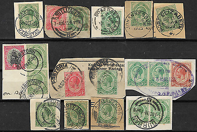 South Africa 1913 KGV SG3 ½d Green Group of Postmarks Used #3
