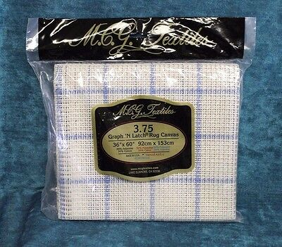"""NEW MCG Textiles Graph'n Hook Rug Canvas 3.75 Poly/Cotton 36""""x60"""" Factory Sealed"""