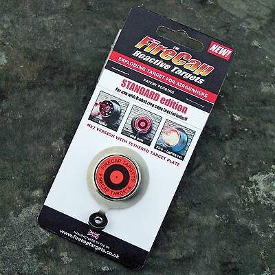 FireCap Exploding Target with tethered target disc for airgun air rifle shooting