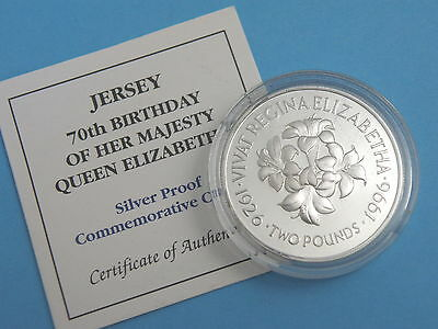 JERSEY 1996 - QUEEN'S 70th BIRTHDAY SILVER PROOF TWO POUND £2 COIN - FLOWERS