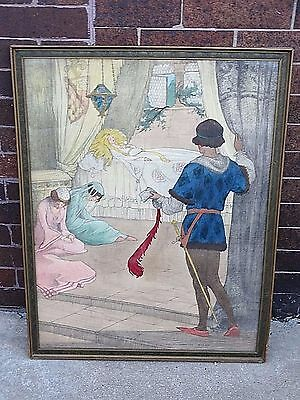 Amazing Antique Arts & Crafts Pastel Sleeping Beauty Frame by Elizabeth Tyler