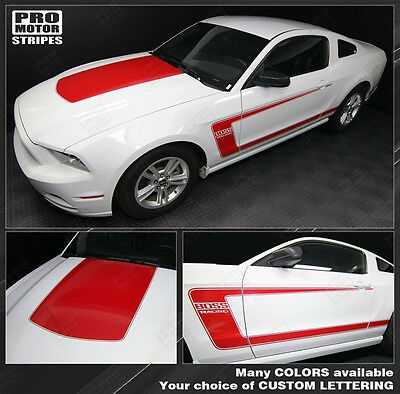 Ford Mustang 2005-2017 BOSS 302 Style Hood & Side Stripes Decals (Choose Color)