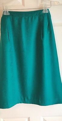 Solid Teal 100% Silk Lined Pencil Straight Knee Length Skirt Elastic Back  24