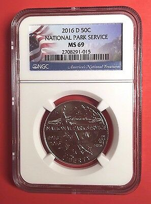 2016-D National Parks Service Half NGC MS-69 Flag holder