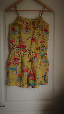 Girls Next Bright Yellow Floral Spagetthi Strap Jump Suit Age 12 Years New