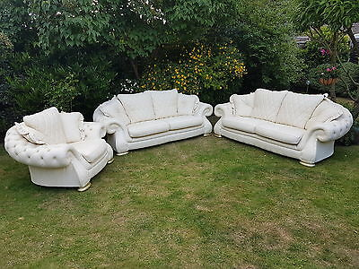 Genuine Italian Pendragon 3 Piece Leather Suite Immaculate Condition !!!!!!
