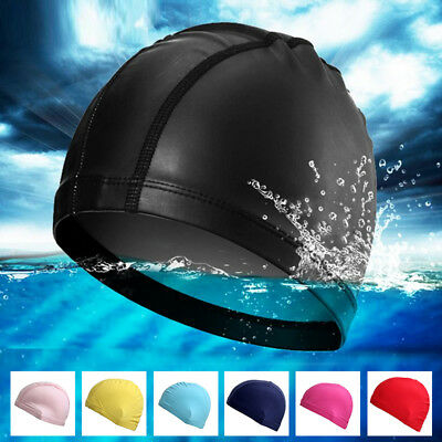 Women Mens Lycra Bathing Hat Swimming Cap Fabric Waterproof Elastic Adult Soft