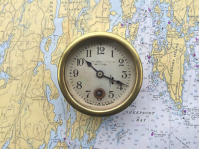 "VTG Chelsea 2 3/4"" Brass Motor Boat Clock Abercrombie & Fitch Nautical Ship Rare"