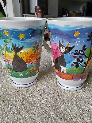 """2 """"Nouvelle Cats"""" coffee cups by Roy Kirkham"""