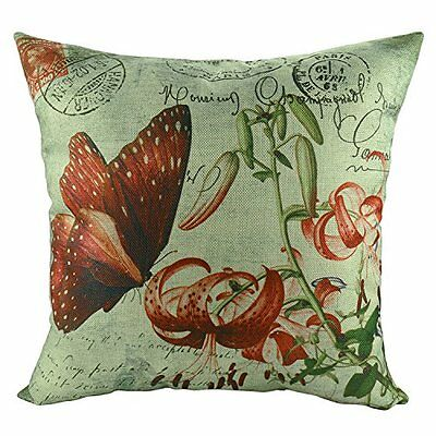 Luxbon-Vintage Home Decorative Pillow Covers Butterfly and Red Flower Pattern 2