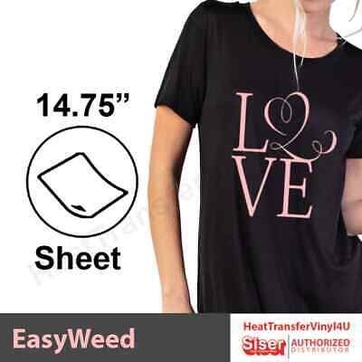"Siser EasyWeed Iron On Heat Transfer Vinyl 15"" x 12"" Sheets"