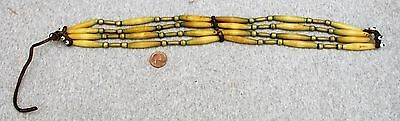 Vintage Mountain Man / Buck Skinner Hairpipe Choker Necklace W/ Brass Beads /old