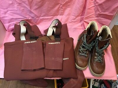 JAMES SCOTT Neoprene Fishing WADERS Chest, Men's M Brown:Boots 91/2 Lace Cvr's