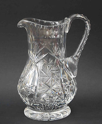 Beautiful American Brilliant Cut Glass Crystal Pitcher Hobstar Faceted Handle