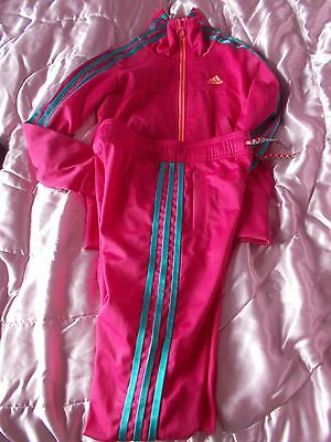 Girls adidas FUSCHIA PINK  FULL tracksuit  WITH TURQUOISE STRIPES 9 TO 10 YEARS.