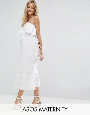 2017 Stock Maternity White One Shoulder Maxi Dress Sizes 10 12 14 New Rrp £38