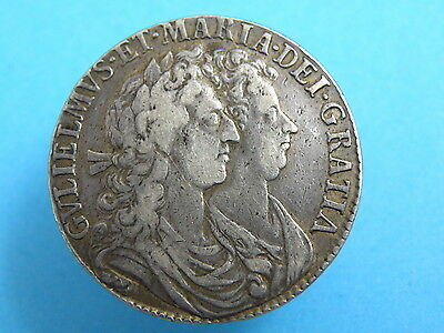1689 William and Mary - SILVER HALFCROWN COIN - Conjoined Bust - Good Grade