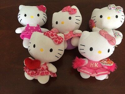 Hello Kitty's Mixed Plush Lot Of 5 -  Nice Addition to Any Collection