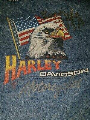 Harley Davidson Motorcycles Born in the USA Jean Jacket Large denim