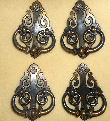 4 Large Vintage Ornate Dresser Pulls  Swing Handles Knocker Style NOS (Z)
