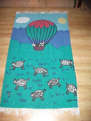 VTG RARE ZOFIA ROSTAD LARGE COTTON SHEEP BALLOON SCENE RUG TEXTILE DESIGNER 80s