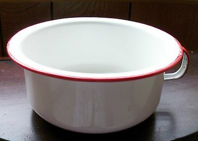 Vintage White W/Red Trim Enamel Child's Potty/Chamber Pot- Primitive Camping