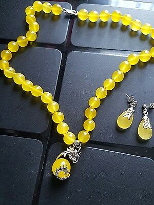 Yellow Agate Necklace And Earrings Set