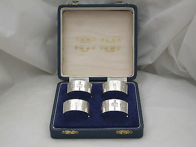 RARE CASED SET of 4 HM STERLING SILVER NAPKIN RINGS