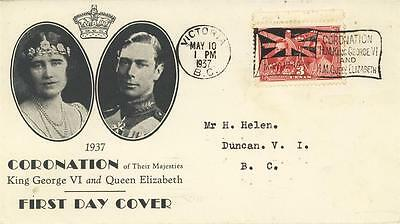 Canada 1937  Illustrated Coronation Cover With Flag Cancel