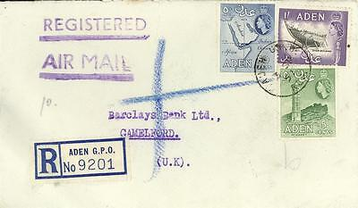 ADEN REGISTERED AIRMAIL COVER to CORNWALL UK 1957