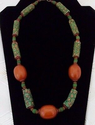 """Vintage 22"""" Tribal African Trade Bead Millefiore Chunky Orange Green Necklace"""