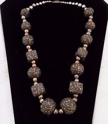 """Vintage 20"""" Tribal African Trade Bead Millefiore Chunky Black Yellow Necklace"""
