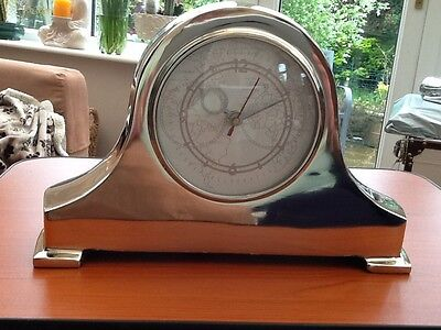 Silver Mantle Clock World Map Face Bnwt