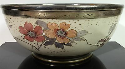 Antique Hand Painted Floral Serving Bowl Silver Plate Trim Ceramic Stone 1888