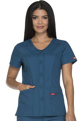 9f893f82158 Scrubs Dickies Button Front V-Neck Top DK605 CAWZ Caribbean Blue Free  Shipping