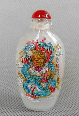 Chinese Collectable Handmade Glass Inner Painted Dragon Auspicious Snuff Bottles