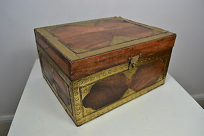 Vintage Heavy Wooden Box With Brass Trimming And Latch