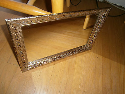 "Vtg Mirror Perfume Parfume Fragrance Vanity Tray Glass Size 15"" Long X 10"" Wide"