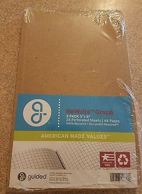 """New~Guided Products ReWrite 5 x 8"""" Graph Recycled Notebook 48 Pages- 3 pack"""