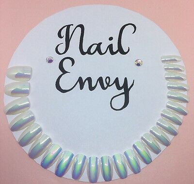 Brand New False Nails Shiny Holographic Unicorn Coffin Ballerina Nails Set
