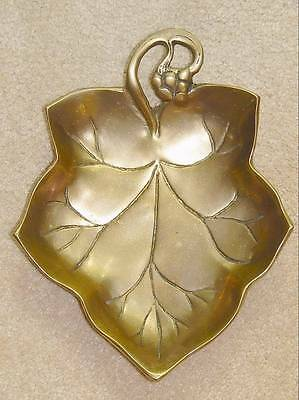 "Vintage Heavy Brass Grape or Maple Leaf Shaped Dish Bowl 10.5"" x 8.25"""