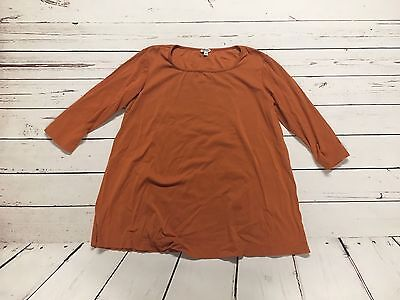 Women's Mimi Maternity Size Large Orange Crew Neck 3/4 Length Sleeve Top