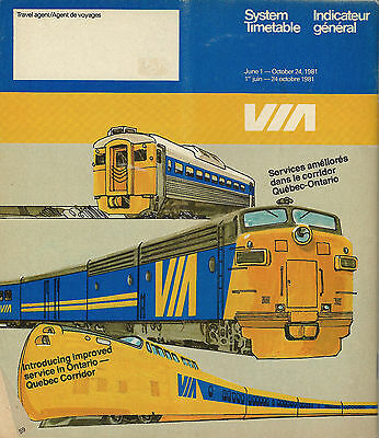 June 1981-October 1981 Via System Timetable