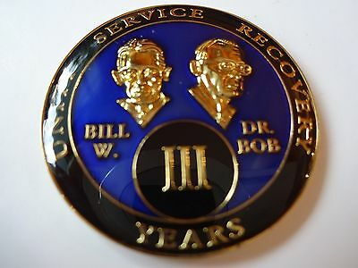 AA Bill&Bob Blue Gold 3 Year Coin Tri-Plate Alcoholics Anonymous Medallion Sober