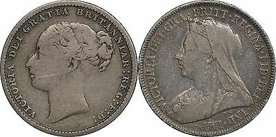 1880 & 1900 Great Britain Shilling, Lot of (2) Coins, Nice Patina