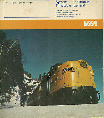 October 30, 1983 Via System Timetable