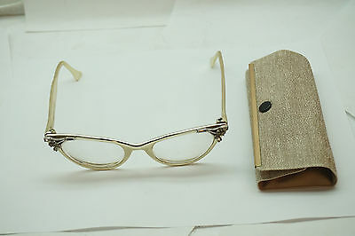 Vintage Eyeglasses Women Cat Eye Glasses Hasday 4 5 1/2 Rhinestones Shiny Metal