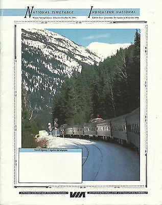1994 Via Winter/spring National Timetable