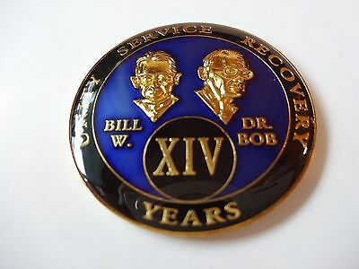AA Bill&Bob Blue 14 Year Coin Tri-Plate Alcoholics Anonymous Medallion +Display
